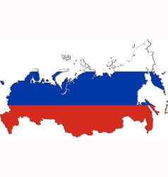Map of russia with national flag vector