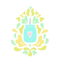Baroque smoothie jar ornament vector