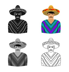 Mexican man in sombrero and poncho icon in cartoon vector
