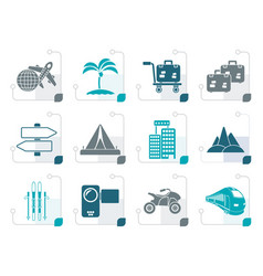 Stylized holiday travel and transportation icons vector