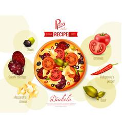 Pizza diabola recipe vector