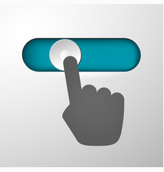 Hand moves the button vector