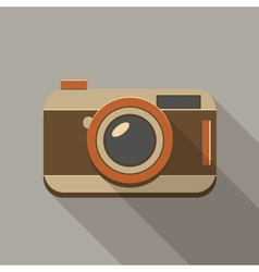 Flat long shadow retro camera icon vector