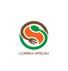 circle spoon fork logo restaurant vector image