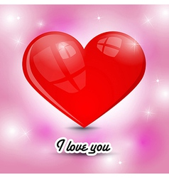 Red heart on pink background with title i love you vector
