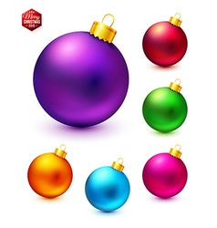 Set of realistic and colorful christmas balls vector