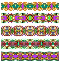 Ethnic floral paisley stripe pattern border set vector