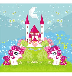 Card with a cute unicorns and magical castle vector