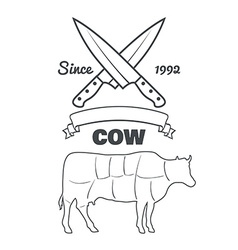 Vintage butcher cuts of cow menu chalk vector