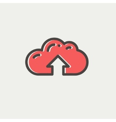 Cloud upload thin line icon vector