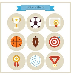 Flat sport and competition winning icons set vector