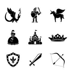 Set of monochrome fairytale game icons with - vector