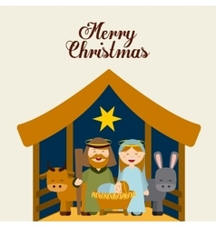 Christmas manger characters vector