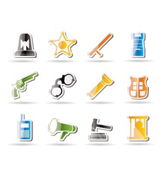 Simple law and crime icons vector