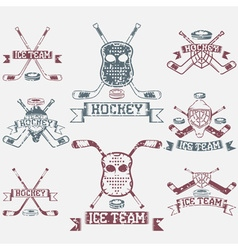 Hockey sport club grunge vintage labels set vector