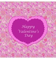 Pink floral valentine card vector image