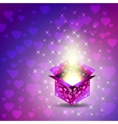 Gift box valentines day heart glow stars vector