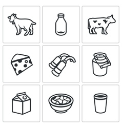 Set of milk products icons animal bottle vector