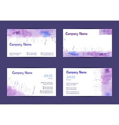 Set of watercolor business cards vector