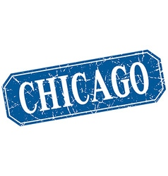 Chicago blue square grunge retro style sign vector