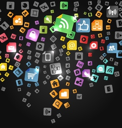 Modern social abstract media icons vector image