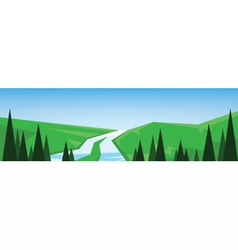 abstract green landscape with a river vector image vector image