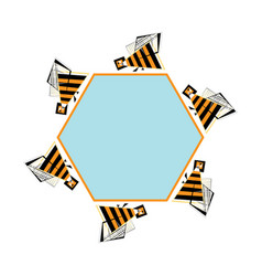 bees frame for text abstract bee and vector image