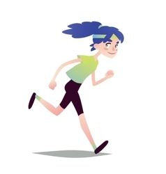 Blue-haired Girl Running vector image vector image