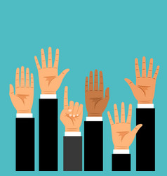 business hands raised up vector image vector image