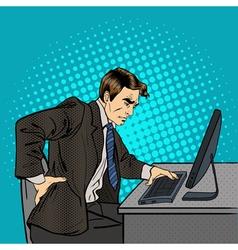 Businessman suffering from backache at work vector