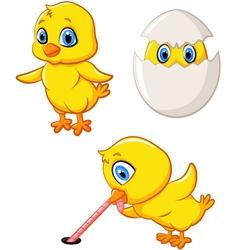 Cartoon happy chick collection set vector