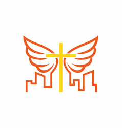 Church of christ cross and wings vector