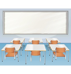 Classroom full of chairs and tables vector image vector image