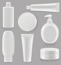 Cosmetics and hygiene plastic packaging set mockup vector