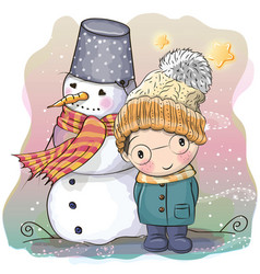 cute boy and snowman vector image vector image