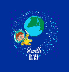 Earth day space kids vector