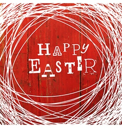 easter card on red wooden board vector image vector image