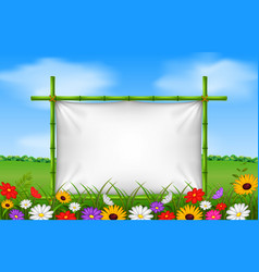 Empty frame made of bamboo in garden with flower vector