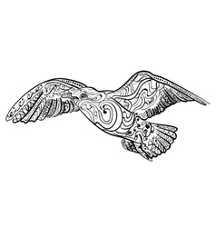 Flying seagull black white hand drawn doodle vector