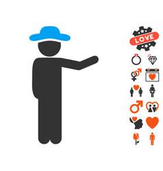 gentleman show icon with love bonus vector image