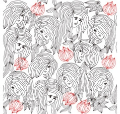 Girl with flowers pattern vector image