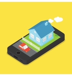 House and car on phone screen cartoon vector image