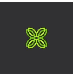 Isolated abstract green color flower petals vector image