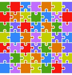Jigsaw puzzle color parts template 7x7 pieces vector