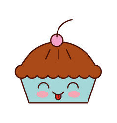 kawaii cake cherry dessert pastry product food vector image