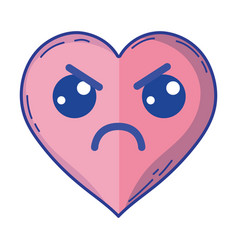 Kawaii cute angry heart love vector