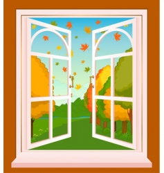 landscape through window vector image vector image