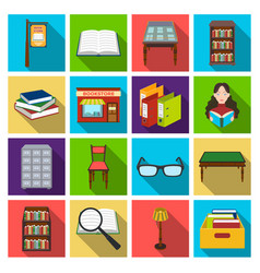 Library and bookstore set icons in flat style big vector