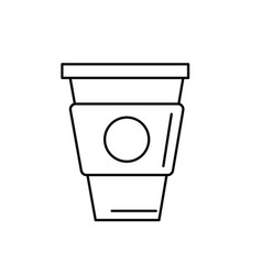 Line delicious coffee in plastic cup icon vector