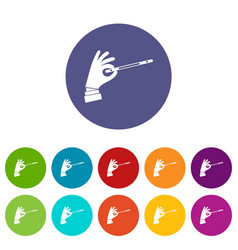 magician hand with a magic wand set icons vector image